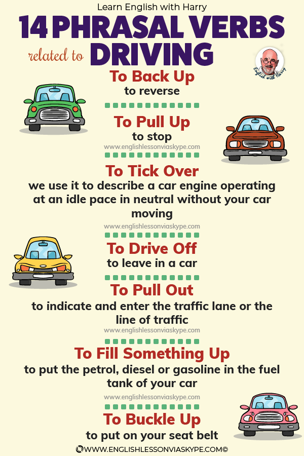 14 Phrasal verbs related to driving. From intermediate to advanced English with www.englishlessonviaskype.com #learnenglish #englishlessons #EnglishTeacher #vocabulary #ingles #английский #aprenderingles #english #englishidioms #learningenglish #esl #englishteacher