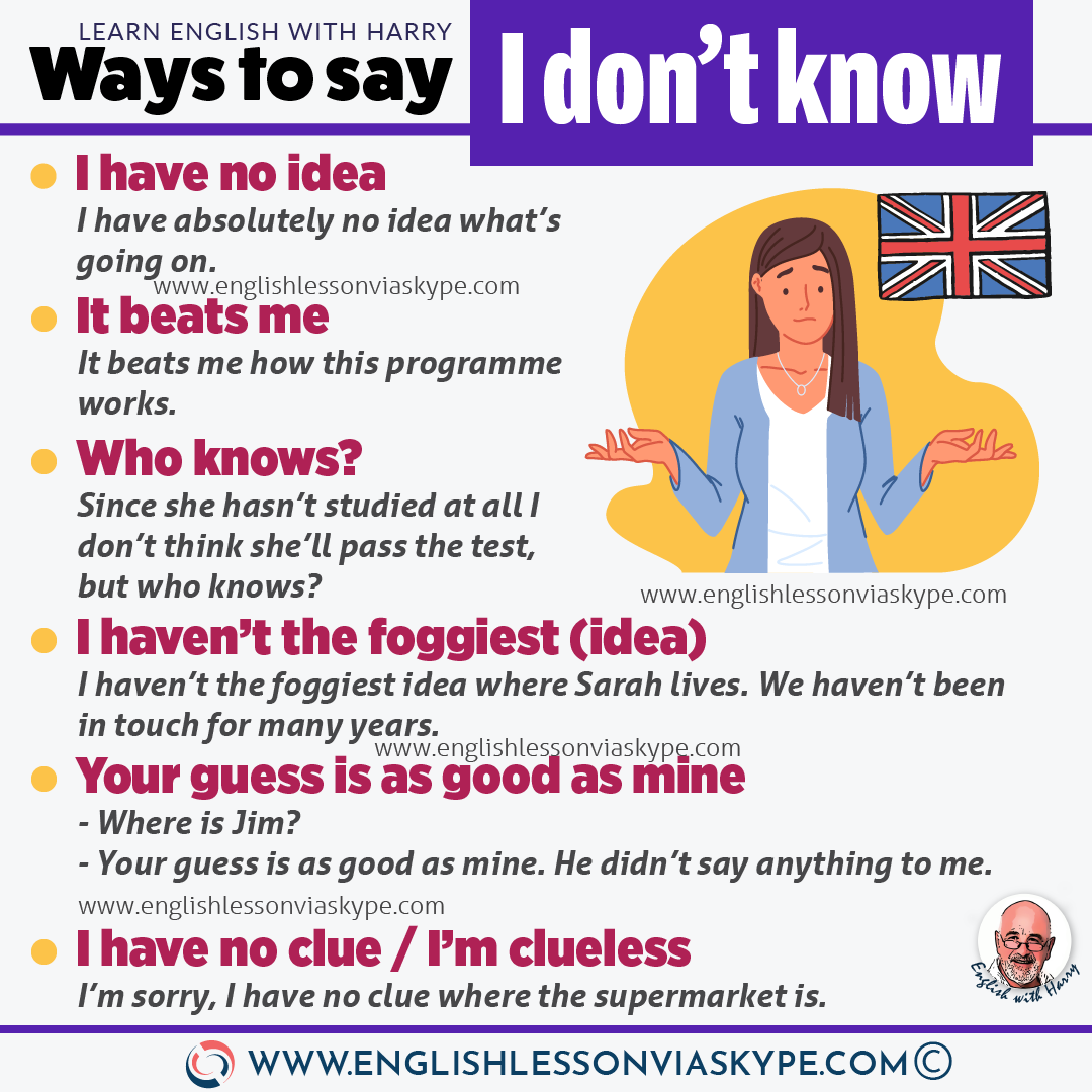 English Vocabulary: 10 Ways to say I don't know in English. From intermediate to advanced English with www.englishlessonviaskype.com #learnenglish #englishlessons #EnglishTeacher #vocabulary #ingles #อังกฤษ #английский #aprenderingles #english #cursodeingles #учианглийский #vocabulário #dicasdeingles #learningenglish #ingilizce #englishgrammar #englishvocabulary #ielts #idiomas