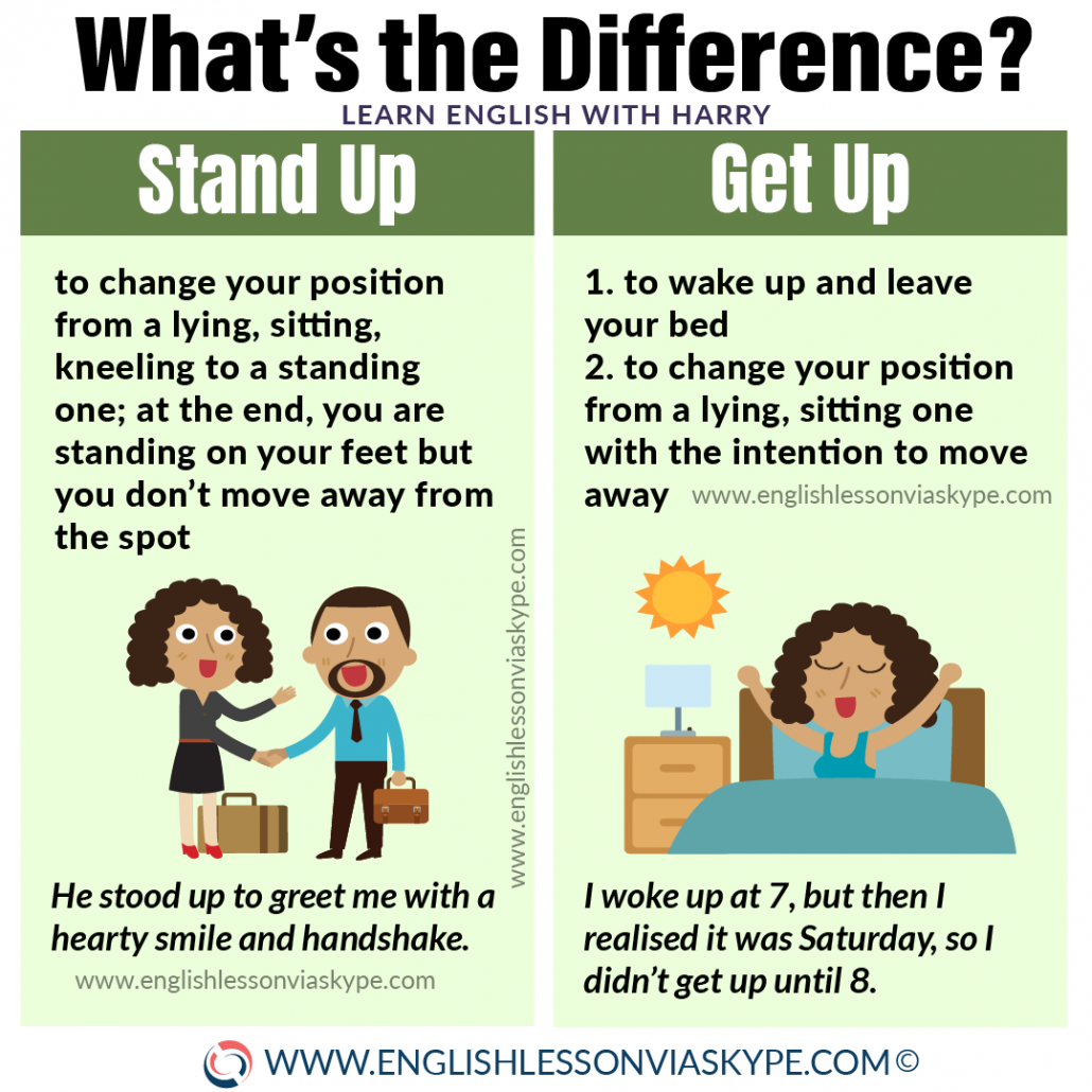 Difference between stand up and get up. Advanced English learning with www.englishlessonviaskype.com #learnenglish #englishlessons #EnglishTeacher #vocabulary #ingles #อังกฤษ #английский #aprenderingles #english #cursodeingles #учианглийский #vocabulário #dicasdeingles #learningenglish #ingilizce #englishgrammar #englishvocabulary #ielts #idiomas