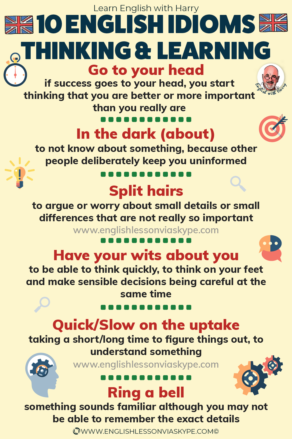 ENGLISH IDIOMS: Learn 10 idioms about thinking and learning. From intermediate to advanced English with www.englishlessonviaskype.com #learnenglish #englishlessons #EnglishTeacher #vocabulary #ingles #อังกฤษ #английский #aprenderingles #english #cursodeingles #учианглийский #vocabulário #dicasdeingles #learningenglish #ingilizce #englishgrammar #englishvocabulary #ielts #idiomas