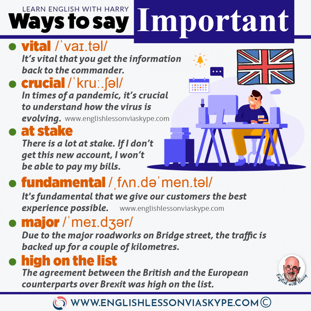 English vocabulary: 10 other ways to say important in English. From intermediate to advanced English at www.englishlessonviaskype.com #learnenglish #englishlessons #EnglishTeacher #vocabulary #ingles #อังกฤษ #английский #aprenderingles #english #cursodeingles #учианглийский #vocabulário #dicasdeingles #learningenglish #ingilizce #englishgrammar #englishvocabulary #ielts #idiomas