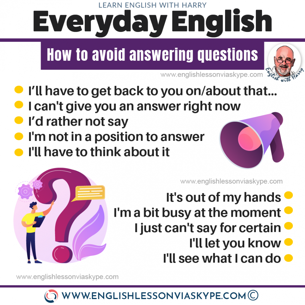 10 English phrases to avoid answering a question. Advanced English learning with www.englishlessonviaskype.com #learnenglish #englishlessons #EnglishTeacher #vocabulary #ingles #อังกฤษ #английский #aprenderingles #english #cursodeingles #учианглийский #vocabulário #dicasdeingles #learningenglish #ingilizce #englishgrammar #englishvocabulary #ielts #idiomas