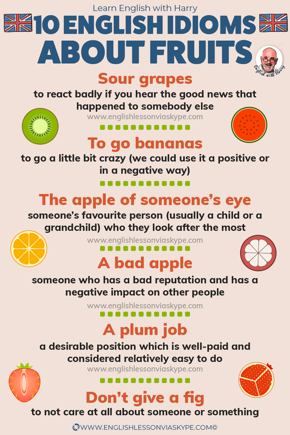 Common idioms about fruits in English. Advanced English learning with #learnenglish #englishlessons #EnglishTeacher #vocabulary #ingles #อังกฤษ #английский #aprenderingles #english #cursodeingles #учианглийский #vocabulário #dicasdeingles #learningenglish #ingilizce #englishgrammar #englishvocabulary #ielts #idiomas