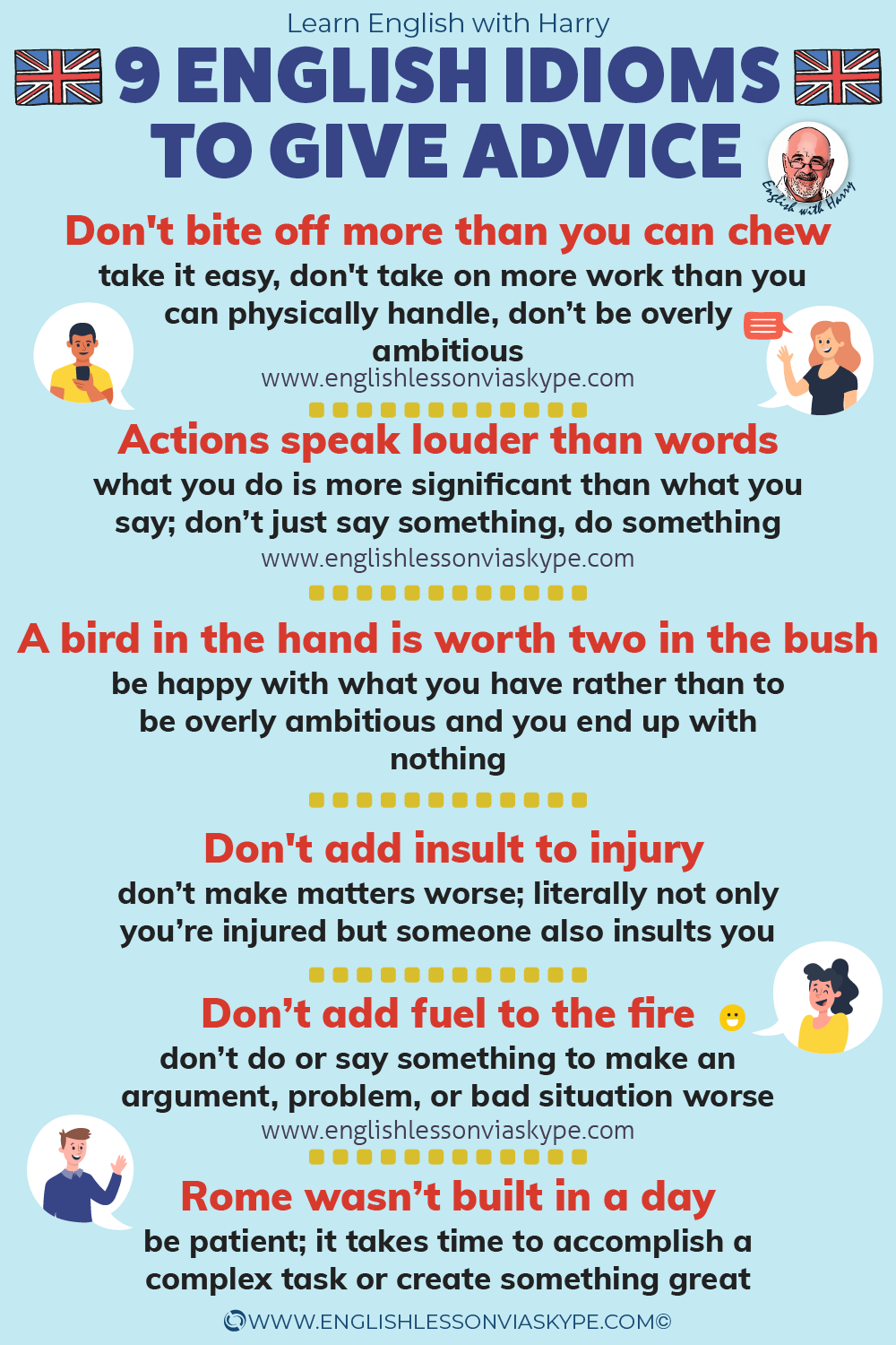 Learn 9 English Idioms for Giving Advice and Warnings. Advanced English learning. Improve English from intermediate to advanced level. Advanced English lessons online at www.englishlessonviaskype.com #learnenglish #englishlessons