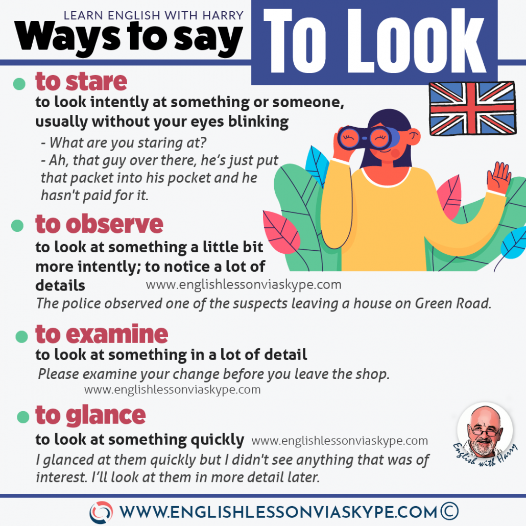 10 Ways of looking in English. Advanced English vocabulary words and expressions. Zoom English lessons at www.englishlessonviaskype.com #learnenglish #englishlessons #EnglishTeacher #vocabulary #ingles #อังกฤษ #английский #aprenderingles #english #cursodeingles #учианглийский #vocabulário #dicasdeingles #learningenglish #ingilizce #englishgrammar #englishvocabulary #ielts #idiomas