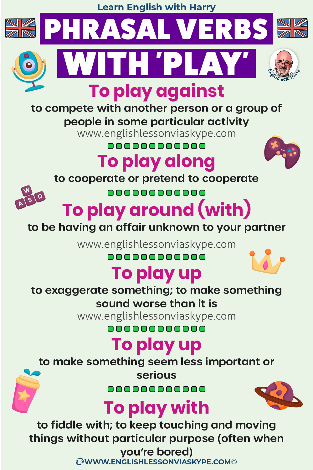 9 Phrasal verbs with play. Play along, play around, play down. Study advanced English. Zoom and Skype English lessons at www.englishlessonviaskype.com #learnenglish #englishlessons #EnglishTeacher #vocabulary #ingles #อังกฤษ #английский #aprenderingles #english #cursodeingles #учианглийский #vocabulário #dicasdeingles #learningenglish #ingilizce #englishgrammar #englishvocabulary #ielts #idiomas