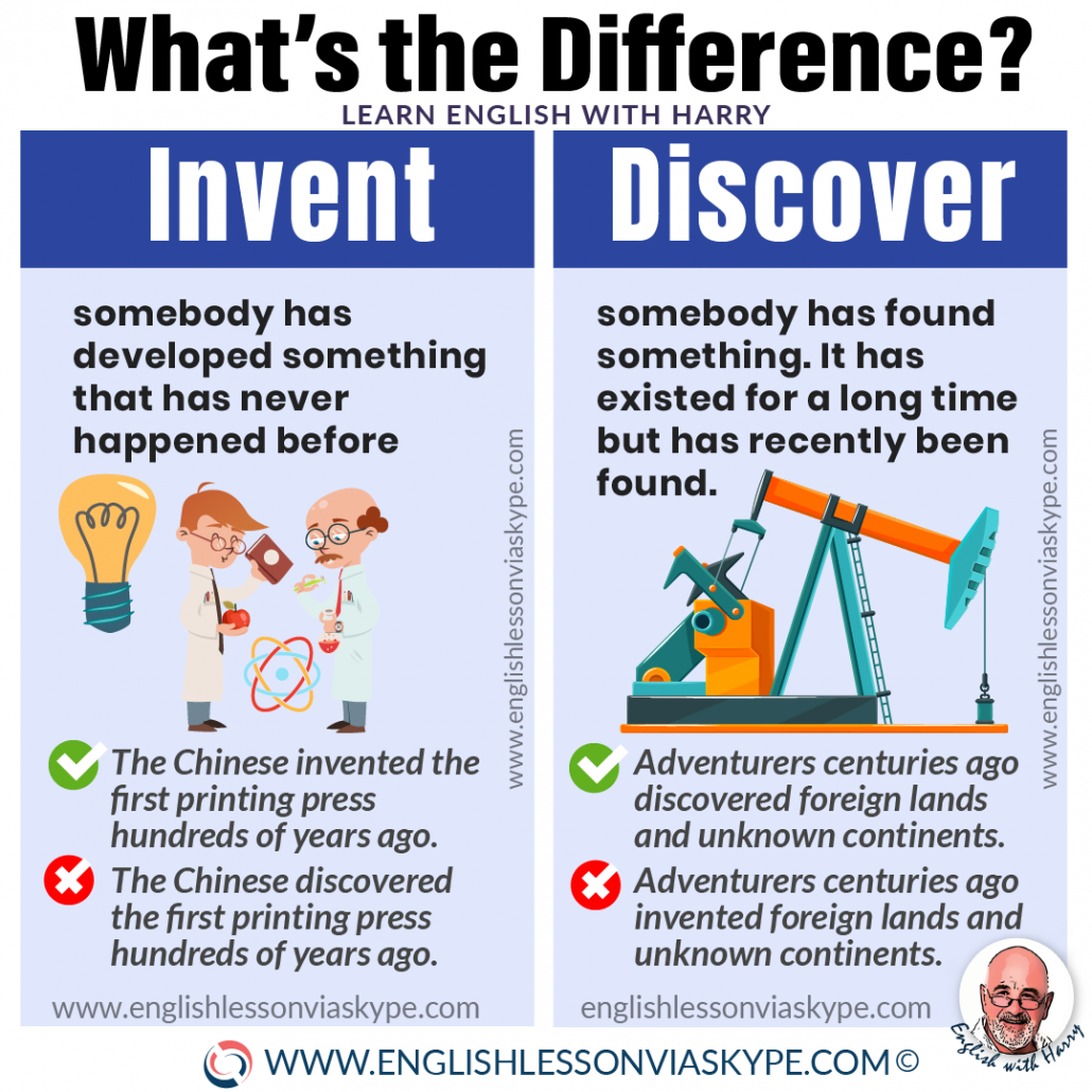 Difference between invent and discover. Discovery or invention? Study advanced English with online lessons over Zoom or Skype at www.englishlessonviaskype.com #learnenglish #englishlessons #EnglishTeacher #vocabulary