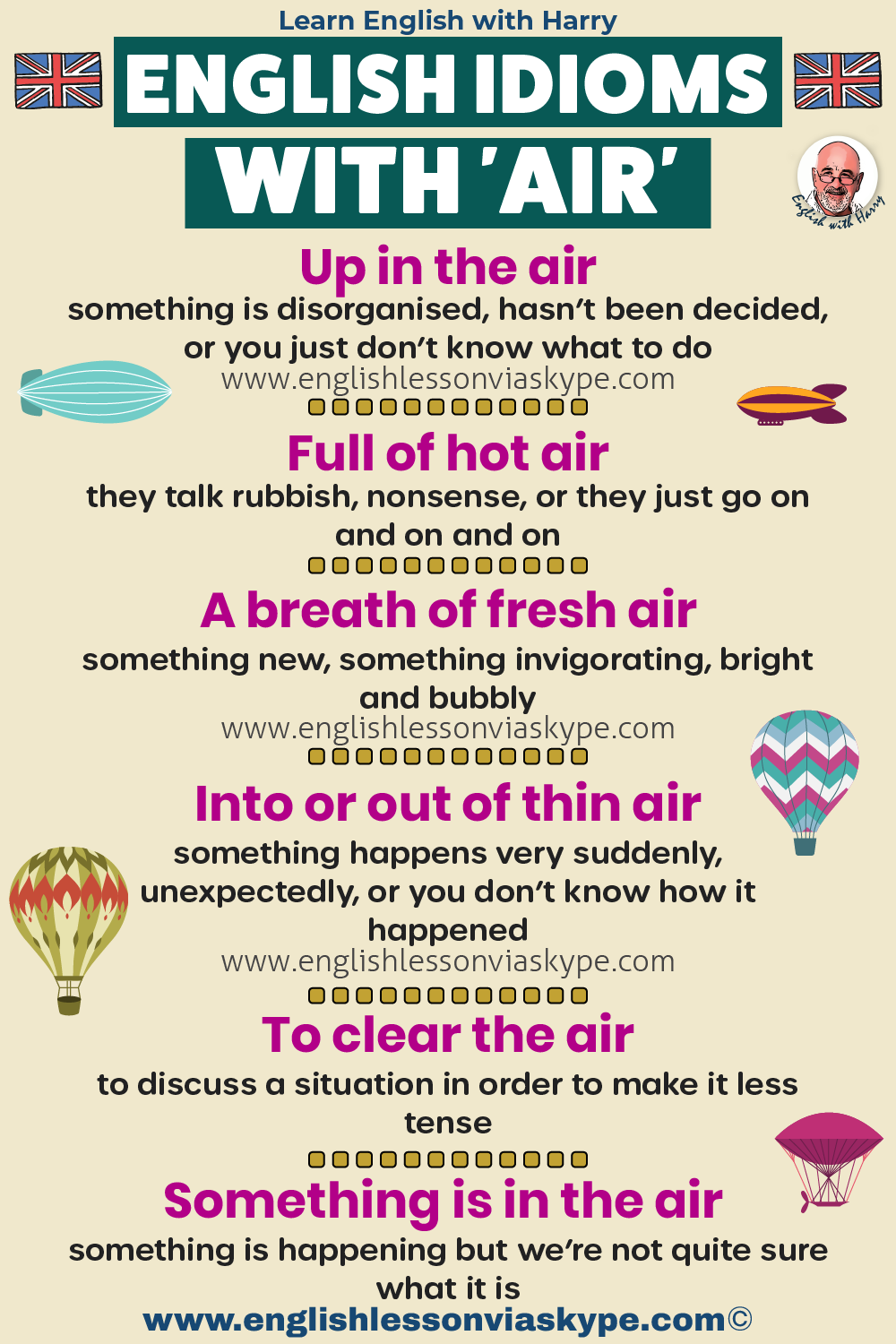 English air idioms and phrases. Idioms to do with air. Advanced English learning. Online Zoom English lessons at www.englishlessonviaskype.com