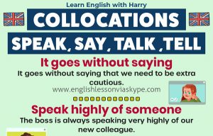 English collocations with say, speak, talk and tell. Study English advanced level. English lessons on Zoom and Skype at www.englishlessonviaskype.com #learnenglish #englishlessons #EnglishTeacher #vocabulary