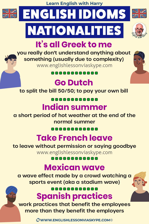 Advanced English English idioms using nationalities. Study advanced English. Online English lessons on Zoom www.englishlessonviaskype.com #learnenglish