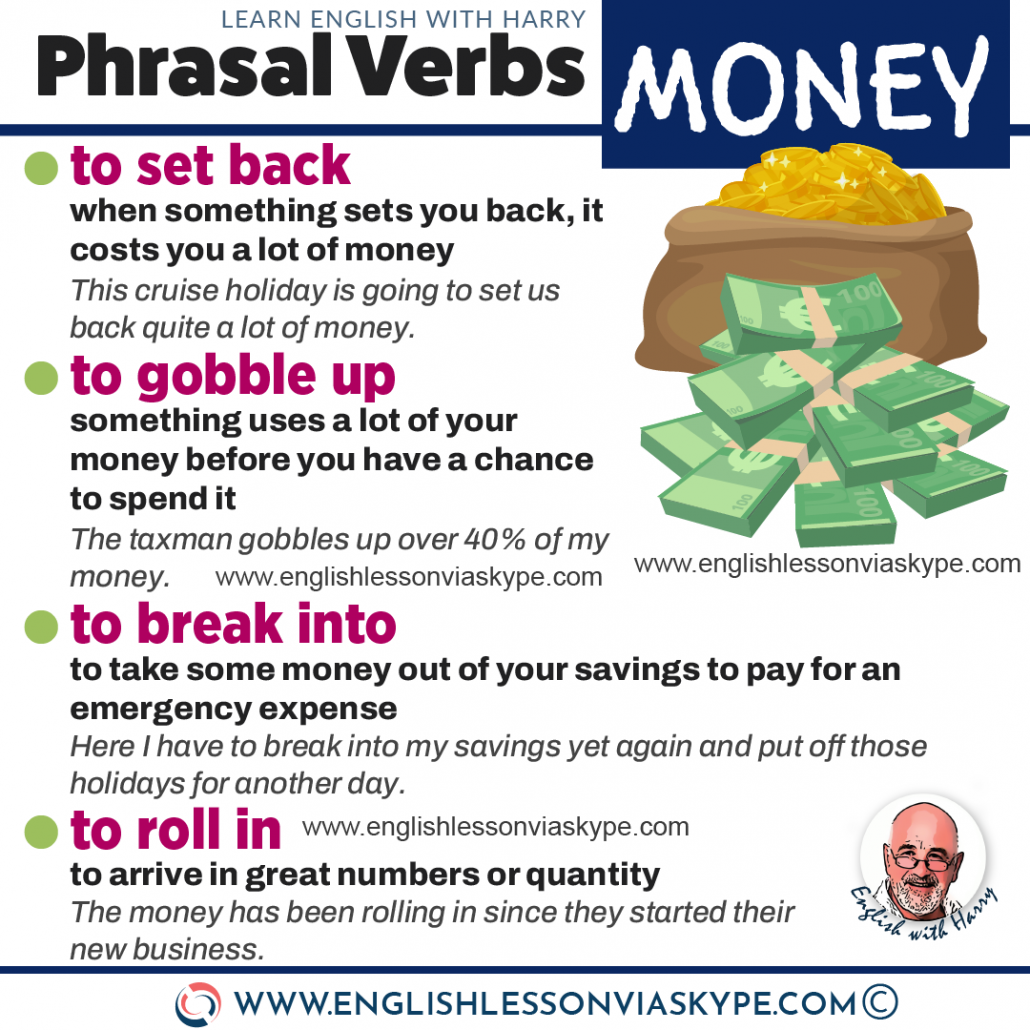Phrasal verbs related to money. With meanings and examples. Study English advanced level. Speak better English with Harry transcript. www.englishlessonviaskype.com #learnenglish #englishlessons