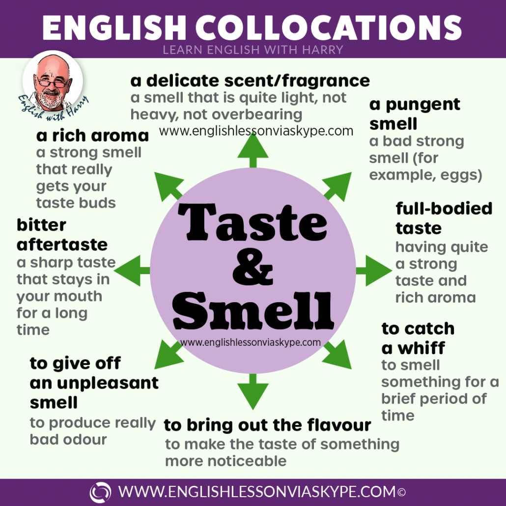 Advanced English collocations connected with taste and smell. Advanced English learning. Online English lessons on Zoom at www.englishlessonviaskype.com