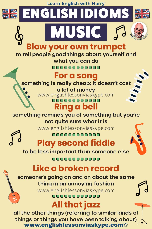 Music idioms in English. Study English advanced level. English lessons on Zoom and Skype www.englishlessonviaskype.com #learnenglish #englishlessons #EnglishTeacher #vocabulary #ingles #อังกฤษ #английский #aprenderingles #english