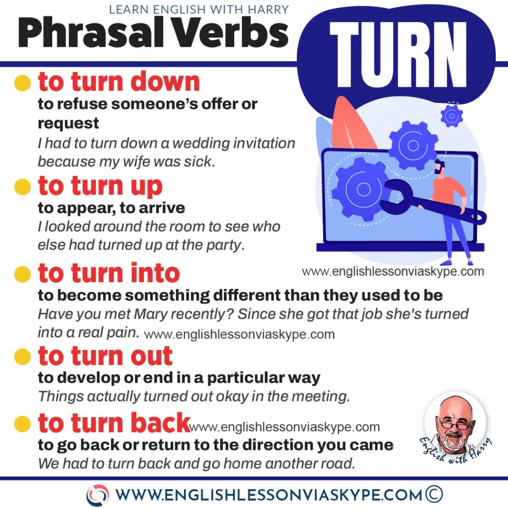 Phrasal verbs with turn. Advanced English learning. Online English lessons on Zoom. Study advanced English at www.englishlessonviaskype.com #learnenglish #englishlessons #EnglishTeacher #vocabulary #ingles #อังกฤษ #английский #aprenderingles #english #cursodeingles #учианглийский