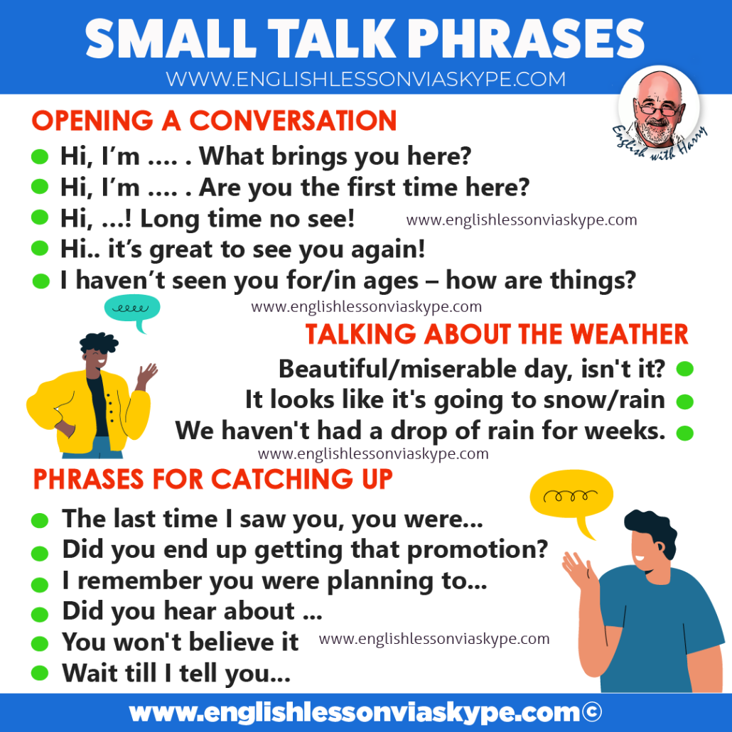 How to make small talk in English. Common small talk phrases. Online English lessons on Zoom. Visit www.englishlessonviaskype.com #learnenglish #englishlessons #EnglishTeacher #vocabulary