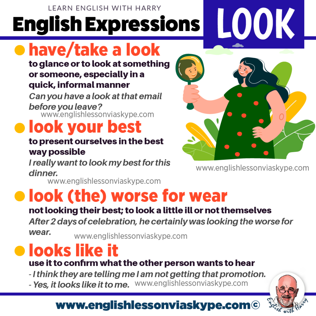 English expressions with Look. Advanced English learning. English lessons on Zoom at www.englishlessonviaskype.com #learnenglish #englishlessons #EnglishTeacher #vocabulary #ingles
