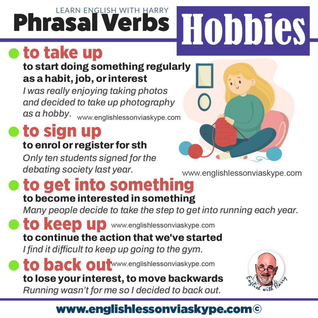 Phrasal verbs for hobbies and activities. Advanced English learning. English lessons on Zoom at www.englishlessonviaskype.com #learnenglish #englishlessons #EnglishTeacher #vocabulary #ingles