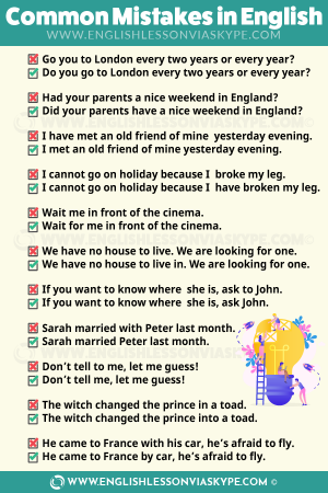 How to avoid Common Mistakes in English. Check out www.englishlessonviaskype.com #learnenglish #englishlessons #tienganh #EnglishTeacher #vocabulary #ingles #อังกฤษ #английский #aprenderingles #english #cursodeingles #учианглийский #vocabulário #dicasdeingles #learningenglish #ingilizce #englishgrammar #englishvocabulary #ielts #idiomas